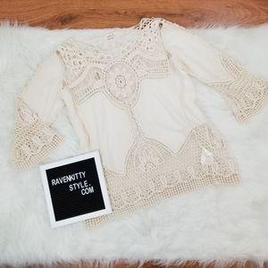 Taylor & Sage Cream Crochet Lace Shirt Size Large